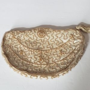 Vintage champagne seed beaded clutch evening bag